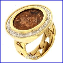 Ring with Bronze Ancient Roman Coin and. 8 CTW Diamonds 14kt Yellow Gold