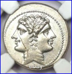 Roman Anonymous AR Quadrigatus Dioscuri Janiform Coin 225 BC NGC Choice AU