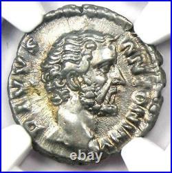 Roman Antoninus Pius AR Denarius Silver Coin 138-161 AD. Certified NGC XF (EF)