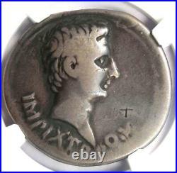 Roman Augustus AR Cistophorus Coin 19 BC (Pergamum, Triumphal Arch) NGC Fine
