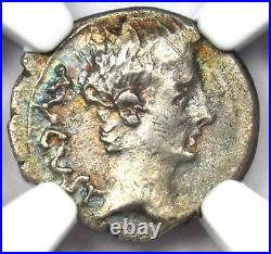 Roman Augustus AR Quinarius Coin 25-23 BC (Emerita) Certified NGC Choice VF