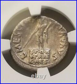 Roman, Augustus Denarius NGC Choice VF Ancient Silver Coin