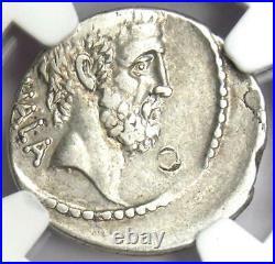 Roman Brutus AR Denarius Silver Coin 54 BC (Issue as Moneyer) Certified NGC VF