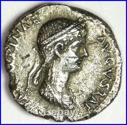 Roman Claudius with Agrippina Junior AR Denarius Silver Coin 51 AD VF Rare