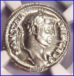Roman Constantius I AR Argenteus Silver Coin 305-306 AD Certified NGC AU