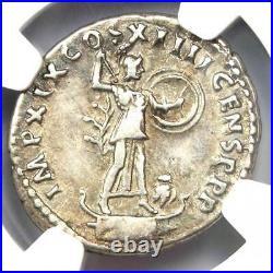 Roman Domitian AR Denarius Coin 81-96 AD (Minerva, Owl) Certified NGC VF