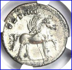 Roman Domitian AR Denarius Silver Pegasus Coin 81-96 AD Certified NGC XF (EF)