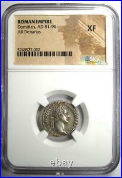 Roman Domitian RR Denarius Silver Coin 81-96 AD Certified NGC XF (EF)
