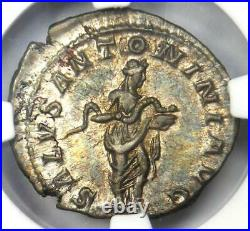 Roman Elagabalus AR Denarius Coin 218-222 AD NGC Choice AU Condition