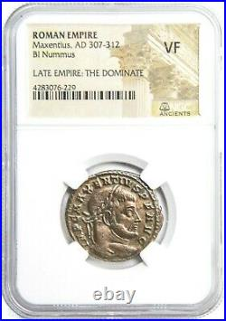 Roman Emperor Maxentius Bronze Coin NGC Certified Very Fine & Story, Certificate