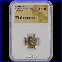 Roman Empire Antonius Pius Ad 138 Ar Denarius Ngc Ch Xf Uber Toned Ancient Coin