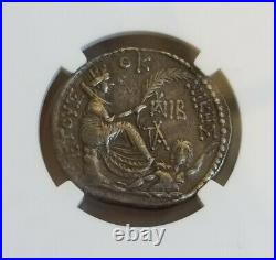 Roman Empire Augustus AR Tetradrachm NGC AU Fine Style Ancient Silver coin