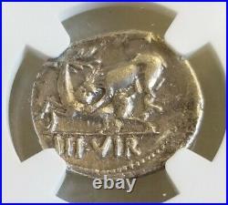 Roman Empire Augustus Denarius Lion Attacks Stag NGC VF Ancient Silver Coin
