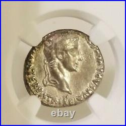 Roman Empire Augustus Denarius NGC Choice VF Ancient Silver Coin