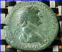 Roman Empire Bronze Coin Of Trajan 97-117 Ad Ae Dupondius Ancient Roman Coin