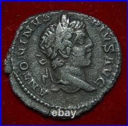 Roman Empire Coin CARACALLA Emperor and River God On Reverse Silver Denarius