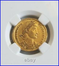 Roman Empire Constantius II Solidus NGC XF 5/3 Ancient Gold Coin