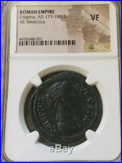 Roman Empire Crispina Salus Feeds Snake Sestertius NGC VF Ancient Coin