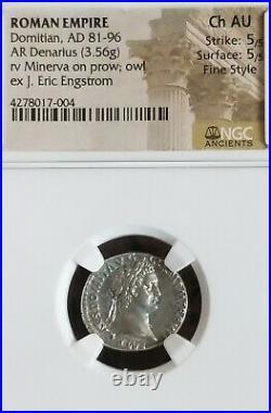 Roman Empire Domitian Denarius NGC CH AU 5/5 Fine Style Ancient Silver Coin