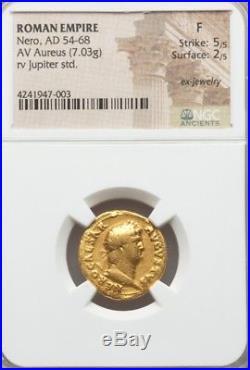 Roman Empire Gold Aureus NERO NGC Fine 5/2 ancient coin