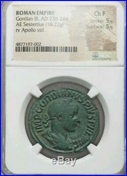 Roman Empire Gordian III Sestertius NGC Fine 5/5 Ancient Coin