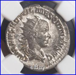Roman Empire, Hostilian (250-251 AD). Silver Denarius Coin. Rare! NGC AU 4/4