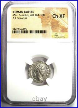 Roman Empire Marcus Aurelius AR Denarius Coin 161-180 AD Certified NGC Ch XF