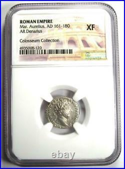 Roman Empire Marcus Aurelius AR Denarius Coin 161-180 AD Certified NGC XF (EF)