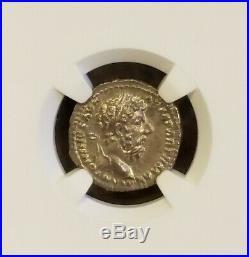 Roman Empire Marcus Aurelius Denarius NGC MS 5/5 Ancient Silver Coin