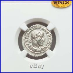 Roman Empire Maximinus Denarius NGC MS 5/4 ancient silver coin