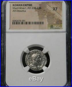 Roman Empire Maximinus I (235-236 AD) AR Denarius, NGC XF Ancient Silver Coin