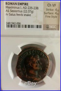 Roman Empire Maximinus I Sestertius Fine Style NGC Choice VF 4/4 ancient coin