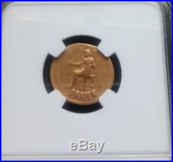 Roman Empire NERO Aureus NGC Fine 5/3 Ancient Gold Coin
