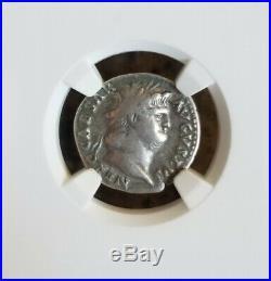 Roman Empire NERO Denarius Jupiter NGC VF 5/5 Ancient Silver Coin