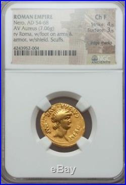 Roman Empire NERO Gold Aureus NGC Choice Fine 4/3 ancient coin