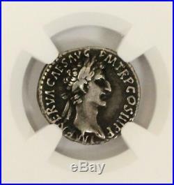 Roman Empire NERVA Silver AR Denarius Coin 96-98 AD NGC Choice F Fortuna Ancient