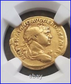 Roman Empire TRAJAN Gold Aureus NGC Fine 5/5 Ancient Coin