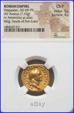 Roman Empire VESPASIAN Gold Aureus NGC Choice Fine 5/4 ancient coin