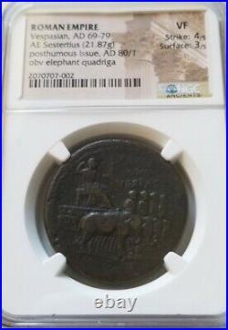 Roman Empire Vespasian Sestertius Elephant Quadriga NGC VF Ancient Coin