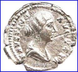Roman Faustina JR Silver Denarius Coin NGC Certified XF With Story, Certificate