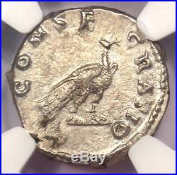 Roman Faustina Jr AR Denarius Peacock Coin 147-175 AD NGC Choice AU Condition