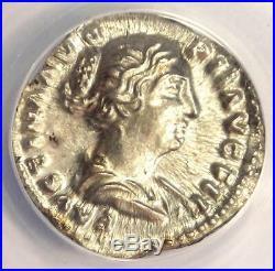 Roman Faustina Jr AR Silver Denarius Coin 154-156 AD Certified ANACS AU55