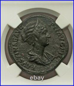 Roman Faustina Jr Sestertius NGC AU Fine Style Ancient Coin