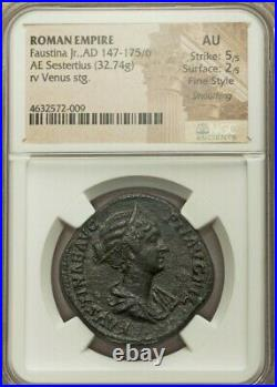 Roman Faustina Junior Sestertius NGC AU 5/2 Fine Style Ancient Coin