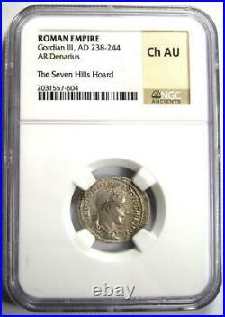 Roman Gordian III AR Denarius Coin 238-244 AD Certified NGC Choice AU