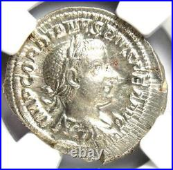 Roman Gordian III AR Denarius Coin 238-244 AD NGC MS (UNC) Condition