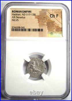 Roman Hadrian AR Denarius NILVS Coin 117-138 AD Certified NGC Choice Fine