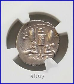 Roman Imperatorial Julius Caesar Denarius Venus & Cupid NGC AU Ancient Coin
