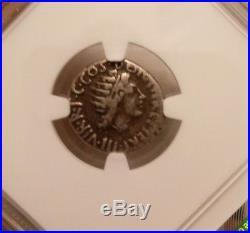 Roman Imperatorial Marc Antony Denarius NGC Fine 4/3 ancient silver coin