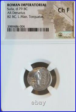 Roman Imperatorial Sulla Denarius NGC Choice Fine Ancient Silver Coin